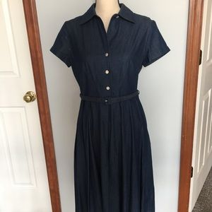 Talbots petites pleated denim dress with belt.